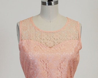 PROVENCE (Peach) CUSTOM FIT : Peach lace dress, sweetheart neckline, shirred skirt, chiffon sash, party, day, bridesmaid