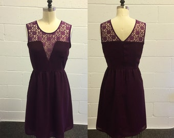 ALICE  (Plum) : Plum purple silk chiffon dress, low v cut lace illusion neckline, vintage inspired, party, day, bridesmaid