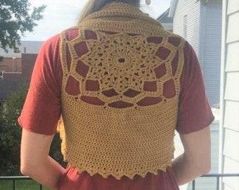 Mandala vest by WyldeSkye // Merino wool naturally dyed onion skin // fairy vest // goddess vest // bolero solar plexus color medicine vest