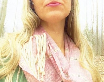 """Raw Silk """"Vintage Rose"""" Leno Lace infinity scarf // Handwoven Rustic Wedding Adornment naturally dyed cochineal // color medicine scarf"""
