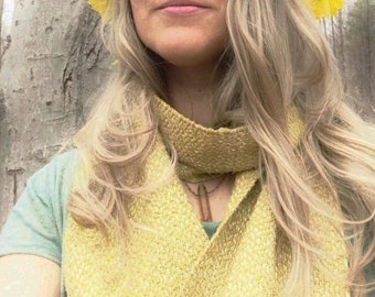 Raw Silk Goldenrod Scarf / Handwoven and Hand Dyed with goldenrod natural dye / solar plexus medicine / color healing plant healing medicine