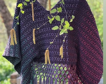 Woodland Queen cropped poncho // handwoven // naturally dyed - lac madder logwood weld indigo - merino alpaca rambouillet wool one of a kind