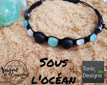 Aqua And White Hematite Aromatherapy Bracelet, Essential Oil Diffuser , Macrame Style Bracelet, Lava Rock Bracelet, Volcanic