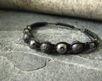 Black Hematite Aromatherapy Bracelet, Essential Oil Diffuser , Macrame Style Bracelet, Hematite Bracelet, Lava Rock Bracelet, Volcanic Rock