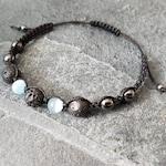 Pale Blue Hematite Aromatherapy Bracelet, Essential Oil Diffuser , Macrame Style Bracelet, Hematite, Lava Rock Bracelet, Volcanic Rock
