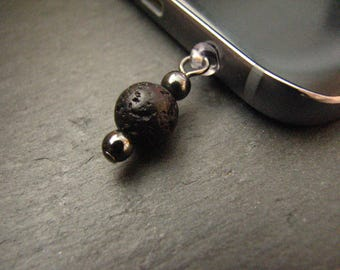 Aromatherapy Phone Charm, Audio Jack Bling, IPad Accessory, Essential Oil Diffuser , Hematite Charm, IPhone Dust Plug, Phone Accessory