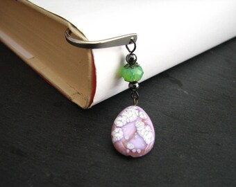 One Of A Kind Bookmark, Green and Purple, Gift For Student, Teacher Present, Stocking Stuffer, Textbook Marker, Book Bling, Gifts Under 20