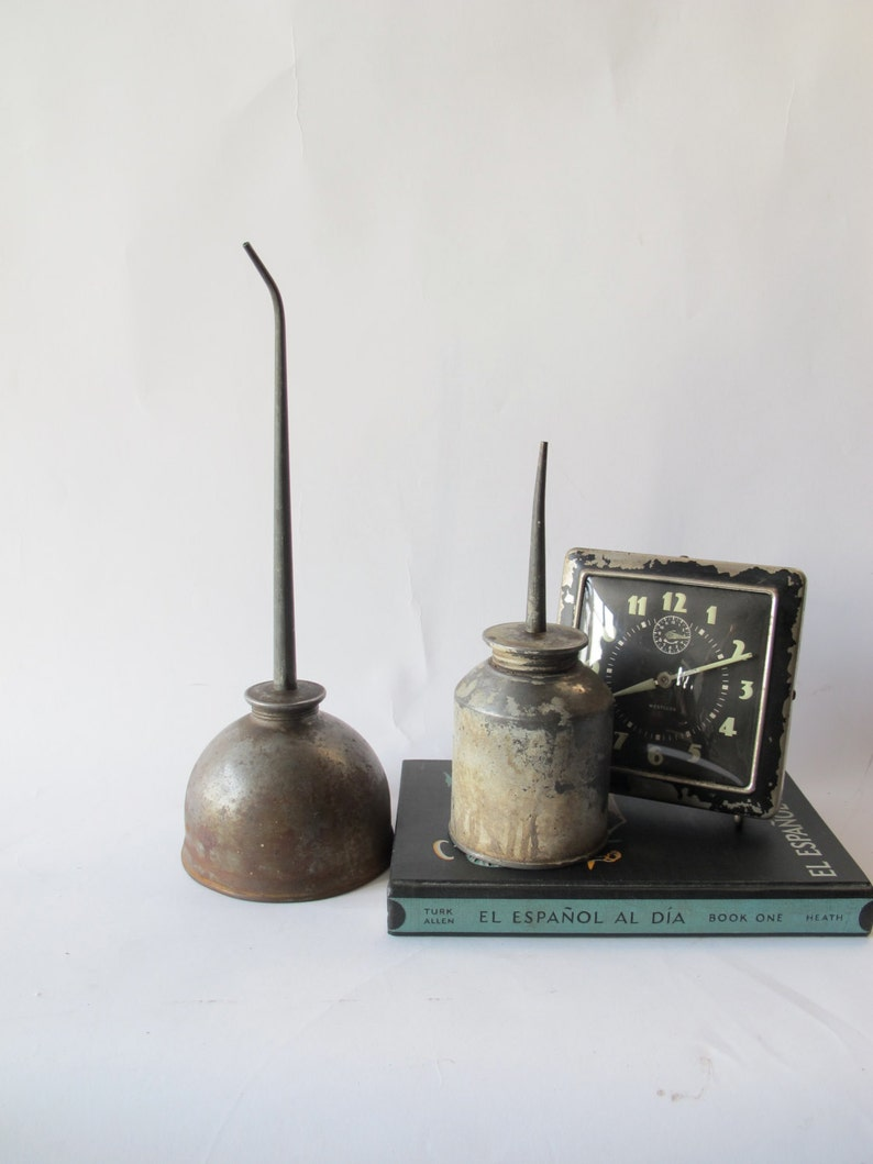 Vintage oil cans steam punk home accessory vintage tool tin can