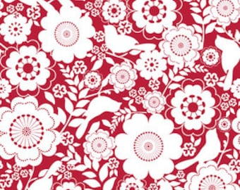 Riley Blake Fabric - Song Bird - Floral in Red - 1 Yard