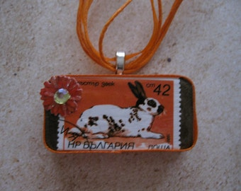 Handcrafted Vintage (1986) Russian Postage Stamp Sweet Speckled Rabbit Pendant