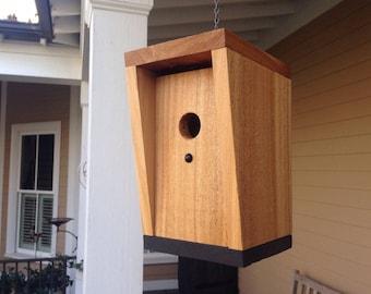 Unique birdhouse design in cedar with dramatic grain details. Modern, minimalist birdhouse. Housewarming gift. Yard art.