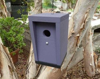 Modern birdhouse. Purple birdhouse. Minimalist birdhouse. Unique birdhouse. Housewarming gift. Birthday gift.
