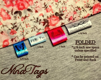 80 Qty -FOLDED- Custom Satin Clothing Labels - Fabric Garment Tags - NinaTags