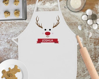 Childrens Christmas Apron - Kids Christmas Gift - Reindeer Apron - Custom Cookie Baking Apron for Toddler Boys - Girls Personalized Apron