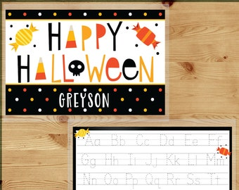 Laminated Halloween Placemats Name - Halloween Home Decor - Personalized Kids Halloween Gifts for Toddlers - Writing ABCs Activity Table Mat