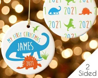 Baby's First Christmas Ornament - Boy 1st Christmas Ornament - Dinosaur Ornament for Grandson - 2021 Custom Name Keepsake Gift for Nephew