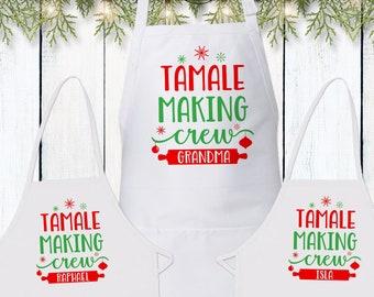 Family Recipe Gift for Grandma - Custom Christmas Aprons - Tamale Making Crew - Pierogi Cooking Apron - Holiday Food Gifts - Matching Aprons