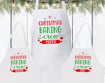 Matching Christmas Aprons - Personalized Christmas Baking Crew Aprons for Children & Adults - Holiday Cookie Crew Gifts for Family + Kids