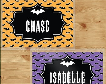 Kids Halloween Placemats - Halloween Gifts for Toddler Boys - Laminated Writing Worksheet Place Mats - Spooky Bat Decor - Custom Table Cover