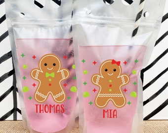 Christmas Juice Pouch - Custom Kids Drink Pouches - Bulk Holiday Party Favors - Personalized Plastic Drink Bags - Childrens Christmas Cups