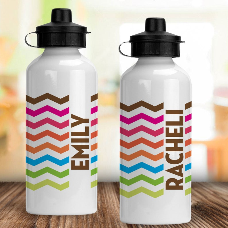 Rainbow Chevron Personalized Stainless Steel Water Bottle with Name for Kids