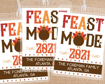 Custom Bag Tags for Thanksgiving Vacation - Friendsgiving Party Favors for Group Travel - Bulk Luggage Tags - Feast Mode - Family Trip Gifts