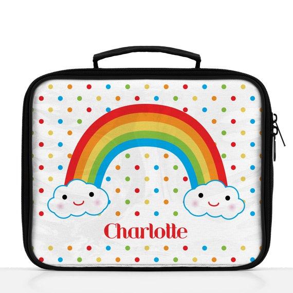 Girls Lunch Box Personalized Custom Rainbow Lunch Bag