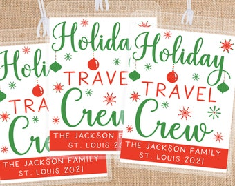 Custom Luggage Tags for Christmas Vacation - Holiday Travel Crew Bag Tags - Bulk Bag Tags for Family Trip - Custom Travel Favors + Gifts