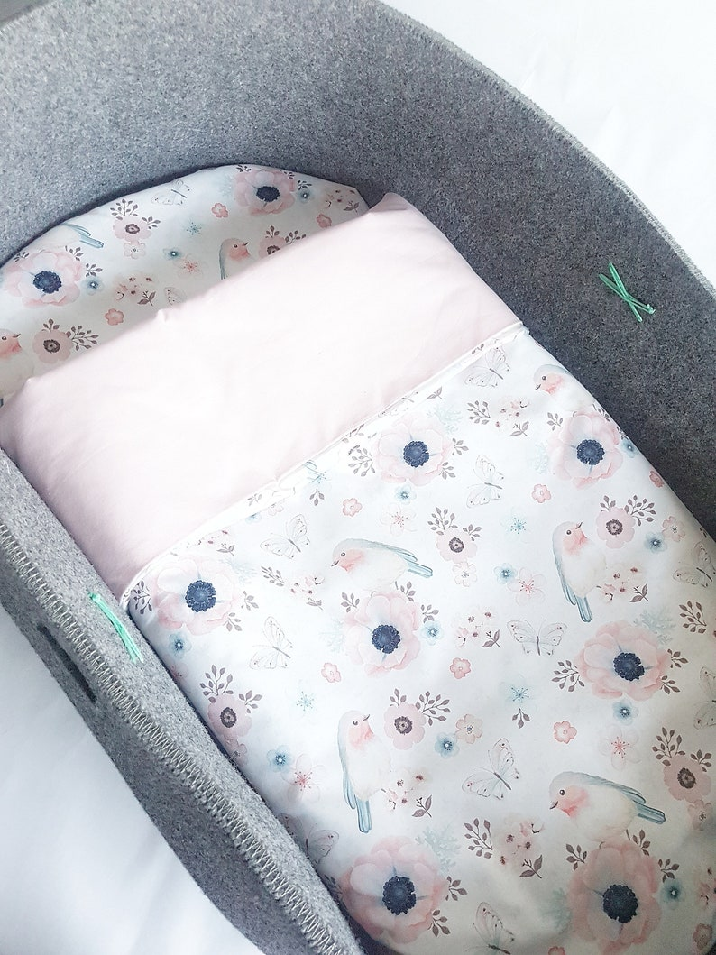 Flowers and Birds Crib Baby Bedding Set Moses Basket Floral Bedding For Girl Duvet and Pillow Set