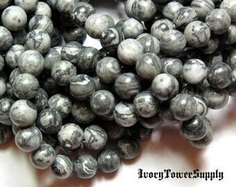 1 Strand 8mm Grey Scenery Jasper Beads, Round, Multi Color Stone, Semi Precious Gemstone Beads