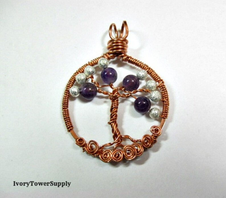Wire Wrapped Pendant Gemstone Pendants Semi Precious Stone Amethyst Tree of Life Pendant Birthstone Pendant