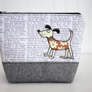 Fabric Dog Applique Zipper Pouch Dictionary  Polk-A-Dot