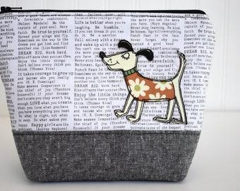 Fabric Dog Applique Zipper Pouch Painter/'s Pallet  Essex Linen
