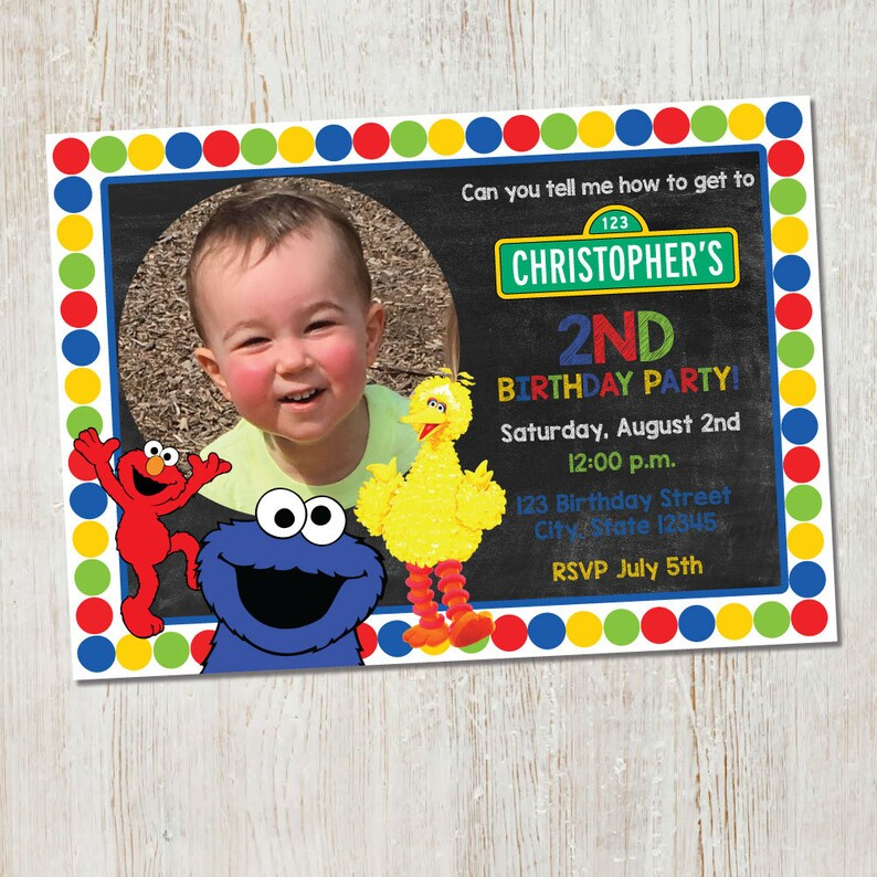Sesame Street Invitation Elmo With