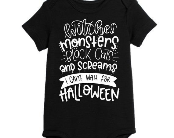 Witches, Monsters, Black Cats, Halloween, Little Monster, Halloween costume, baby costume, Halloween onesie, toddler halloween, hocus pocus