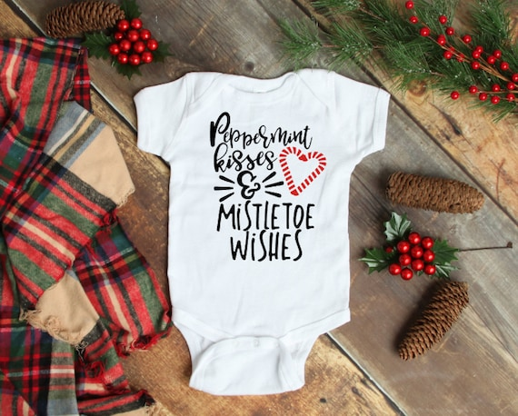 Peppermint Kisses & Mistletoe wishes Onesie