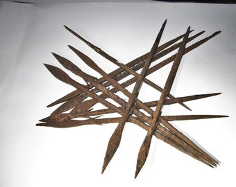 One (1) of these Bura Spear Point from Africa Pictured Above, Hand Forged Iron Rat Tailed Spears c500-1500AD