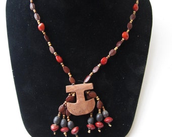 Necklace of the Kraho Amazon Indians of Brazil for Protection, all parts including twine are Hand Made and Natural Materials