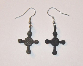 Authentic Viking Bronze Crosses Earrings - Following the Migration Period - 1000 Years Old from Kievan Rus associated with Novgorod