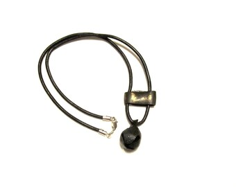 Viking Bronze Bell and Metal Spacer on 3mm Leather w/ Sterling Silver findings