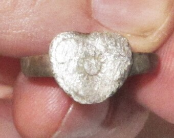 Viking Heart Ring from Medieval Northern Europe from the 9th. to 12th. C. in size 8.75 - Heart with Sun Symbol on Bezel - Wedding Love