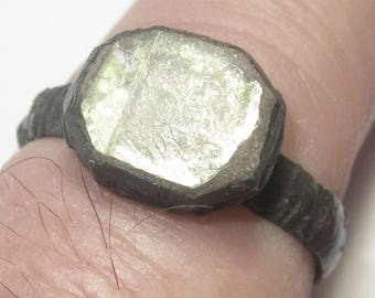 Medieval Bronze Ring with Clear Stone (Glass or Mica) with Green Tint from Eastern Europe from the 14th. to 17th. C. in size 6.5 - Beautiful