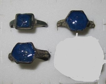 Post - Medieval Bronze Rings from Belarus with Stones Missing and Replaced with Resin that looks like Lapis - Your Choice