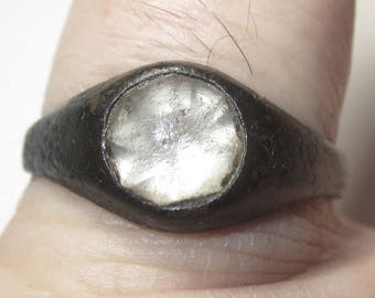 Late Medieval Ring with Clear Stone (Glass) from Eastern Europe from the 15th. to 18th. C. in size 10.25 - Beautiful