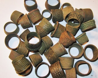 2 Medieval Through Victorian Bronze Tailor Thimbles from England c. 1300 - 1800 AD -  Metal Detector Finds - 2 for 15 Dollars!!