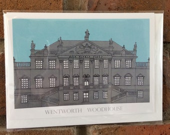 Wentworth Woodhouse illustrated greetings card, illustration, stately home, architecture, building, Yorkshire, south Yorkshire, unique