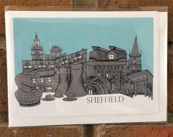 Sheffield City skyline illustrated greetings card, illustration, landmarks, architecture, building, Yorkshire, south Yorkshire, unique