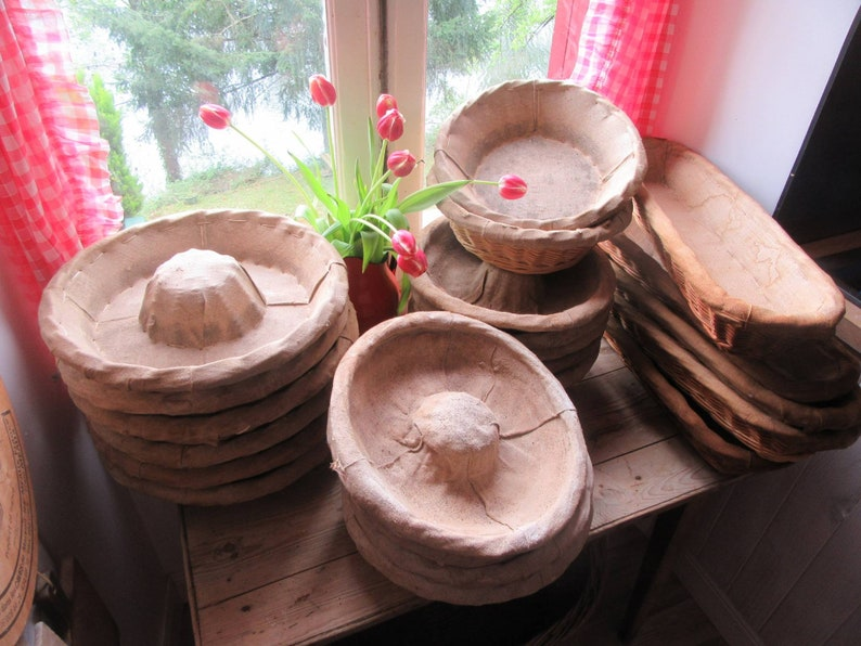 Vintage from 1950s rustic French bread baskets with liners from France. French Country Basket Inspiration: Resources for Rustic, French Market, and Boulangerie as well as photos to Inspire!