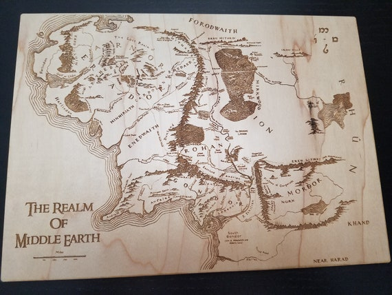Engraved Map Of Middle Earth
