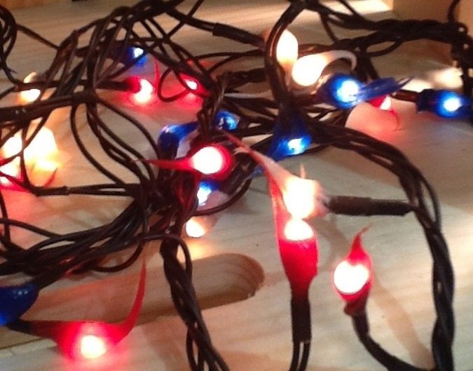 50 count red white blue hand dipped primitive silicone rice lights electric